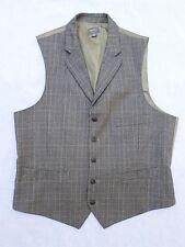 MERONA gray Glen plaid 100% wool notch lapel steampunk waistcoat vest LARGE