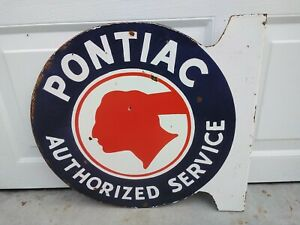 Vintage Pontiac Authorized Service Double Sided Flange Porcelain Sign (Rare)