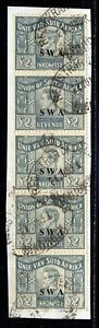 SOUTH WEST AFRICA KGVI EARLY REVENUES  £2 STRIP X5 FINE USED ON PIECE. B406