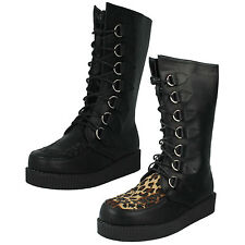 Ladies Spot on Black Synthetic Mid Calf BOOTS With Leopard Print F50018 UK 5