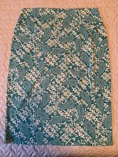 LuLaRoe Cassie Pencil Skirt Large Green White Paisley New With Tags