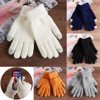 Gants en laine tricotés à la main pour épaissir les doigts avec écran tactile