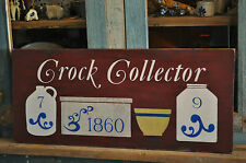 Huge Dark Old Berry Red Crock Collector Wood Sign Country Primitive Folk Art