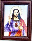 "Gem Stone Painting "" Jesus In Purple Robe""  Rare Handmade Collectible Wall Decor"