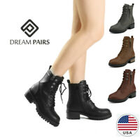 DREAM PAIRS Women Chelsea Ankle Boots Lace Up Zipper Military Combat Boots