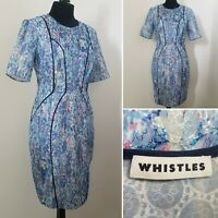 Ladies WHISTLES Dress Sz 10/12 Blue Lacy Floral Watercolour Wiggle Event Wedding