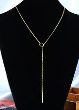 1Pc New Women Chic Y Shaped Circle Lariat Necklace Adjustable Golden Plated