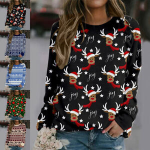 Christmas Printed Ladies Crew Neck Long Sleeve Blouse Xmas Pullover Tops T-Shirt