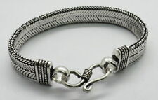 "Bracelets Chain Silver Plated Flat Belt Bali Style Chain Band Bracelet 6.5"" Long"