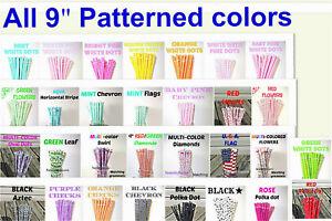 PATTERNED STRAWS, Polka Dots, Checks, Flowers, Chevron, Reusable, BPA Free