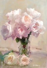 Pink Roses Painting Flowers Shabby Chic French Provincial Canvas Print A3