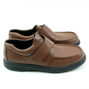 Hush Puppies Gil Brown Leather Easy Closure Comfort Shoes Mens Size 14