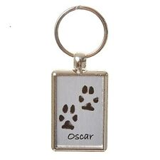 Double-Sided Paw Print Keyring - Brushed Steel - Pet Keepsake