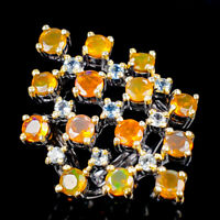Rainbow4x4mm Natural Orange Opal 925 Sterling Silver Ring Size 7.5/R124111