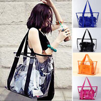 Women Jelly Candy Clear Shoulder Bag Transparent Handbag Tote Cosmetic Beach Bag