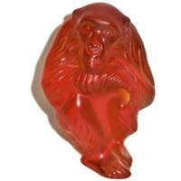"Lalique France Crystal Amber Monkey Chita Chimpanzee Ape, 4 3/4"" Tall"