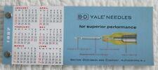 1957 B-D Yale hypodermic Needles advertising calendar & blotter packet