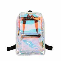 Women Backpack Clear PVC Laser Hologram Backpack Transparent Girls Casual Travel