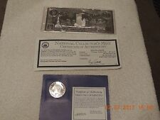 Commemorative JFK coin 1960-1985 and 911 $20 silver leaf coin-certificate