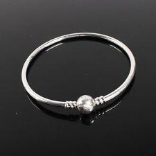 Silver Round Clasp Bangle Bracelet for Charms Beads AU Fashion