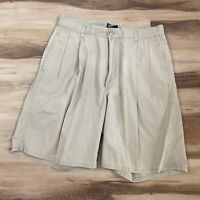 Vintage Polo Ralph Lauren Size 33 Pleated Khaki Chino Shorts Made in USA