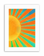 ABSTRACT SUNRISE SUN RAYS ORANGE BLUE SPOKES Poster Painting Canvas art Prints