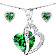 "Women's Created Emerald Sterling Silver Pendant Necklace Earring Set  18"" Chain"