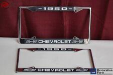1950 Chevy Chevrolet GM Licensed Front Rear Chrome License Plate Holder Frames