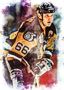 Mario Lemieux Pittsburgh Penguins 1/10 Limited Fine Art Print Card By:Q