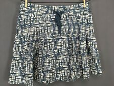Old Navy Pleated Mini Skirt 18 Blue Off White Women Cotton Ribbon Tied