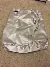 American Girl Silver Drawstring Backpack-pink Logo-cute Pull-front Pocket