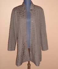 Eileen Fisher Brown Quilted 100% Silk Lined Snap Button Jacket Size XL