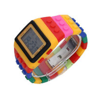 Multi-Color Block Wrist Watch with LED Night Light - Yellow S3P3 S5Y4