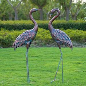 Metal Crane Heron Statue Art Accent Pond Decoy Patio Porch Lawn Garden Yard Bird
