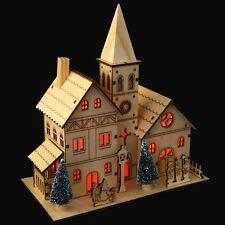 5 LED bianco caldo Lucine Chiesa in Legno Decorazione Natalizia Villaggio Scena