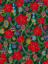 1 Half Metre Length Christmas Splendor Poinsettia and Bauble Print Fabric 23328