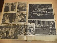 OLD VINTAGE NEWSPAPER MAGAZINE scraps SCRAPBOOK 40S 50S ROYALTY WW2 FRUIT WRAPS