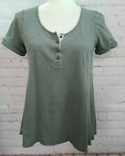 Anthropologie Postmark Women's Henley Shirt Small Hi Lo Green Short Cuff Sleeve