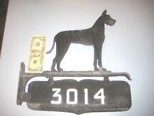 Vntge Antique CAST MetaL HOME ADDRESS SIGN Mailbox topper PLAQUE DOG GREAT DANE