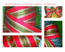 """Wired Christmas Ribbon Red Gold Green Regency Stripe 2.5"""" wide Tree Cake Tinsel"""