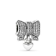 Genuine Pandora Sterling Silver ALE 925 Heart and Bow Charm 791776CZ PC213