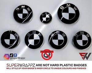 BLACK GLOSS HALF FOR BMW Badge Emblem Overlay Sticker HOOD RIMS FITS ALL BMW