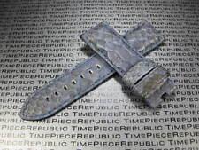 24mm PANERAI PYTHON Skin Leather Strap Navy Blue Band Deployment Buckle X1 REG