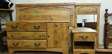 Beautiful wood 4 piece bedroom set headboard, dresser, night stand, mirror