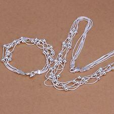beautiful Fashion 925 sterling Silver Pretty Bracelet Necklace set jewelry women