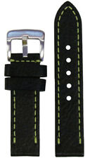 22mm Panatime Black Pebble Grain Leather Watch Band w Green Stitch 125/80 22/22