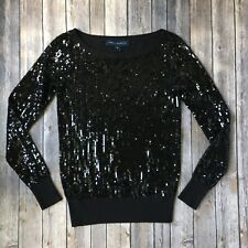 French Connection Sweater Top Sequin Black XS 0 2 Long Sleeve Party Bling