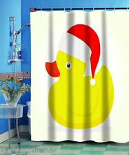 Christmas Ducky Fabric Shower Curtain 70Wx72L Duck Santa Hat White Background