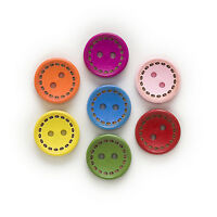 50pcs 2 Hole Mixed Dotted Line Cute Round Wood Buttons Sewing Scrapbooking 15mm