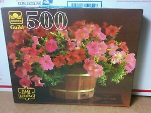 Vtg Golden Guild Flower Petunias 500 Pc Jigsaw Puzzle Brand New Factory Sealed